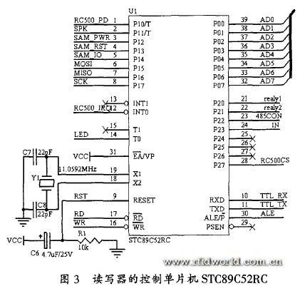 读写器的控制单片机原理如图3所示.