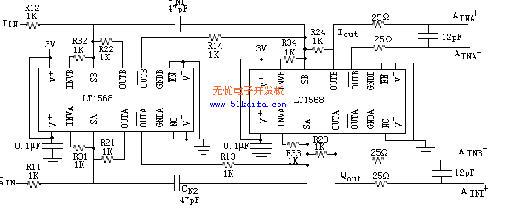 "620)this.style.width=620;"" border=0> 图3 双通道、四阶滤波电路 2.4 LCD显示与USB接口电路 LCD显示采用字符型LCD显示模块DMC24138芯片,该芯片把点阵液晶显示器FRD7168、点阵驱动器HD44100与控制器HD44780等芯片集成在同一块双面印刷电路板上。HD44780是日立公司生产的LCD显示器的专用控制芯片,通过该芯片的内部I/O缓冲器接收MSC1211单片机利用读写、RS等引脚上送来的控制命令,实现单片机与HD44780之间指令、数据和状"
